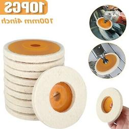 10Pcs 100mm 4 Inch Wool Buffing Angle Grinder Wheel Felt Pol