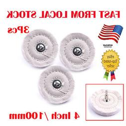 3x 4inch 100mm Cloth Polishing Mop Wheel Pad Drill Buffing G