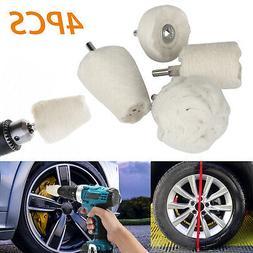 4Pcs White Cotton Pad Polishing Buffing Wheel Rims Car Motor