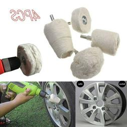 4Pcs White Cotton Pad Polishing Buffing Wheel Rims Car Motor