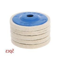 5Pcs 4'' Round Polishing Wheel Felt Wool Buffing Polishers P
