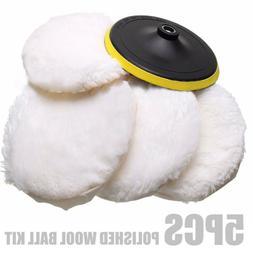 5pcs 7'' 180mm Wool Buffing Pad Detailing Polishing Buffer P