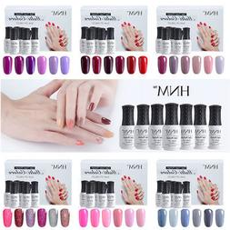 6pcs Gel Nail Polish Set Soak Off Base Top Coat Manicure Kit