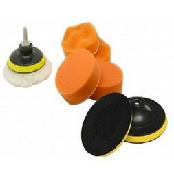 "7 Pc 3"" Polishing Sponge Pad 1/4"" Drill Adapter Kit Car Auto"