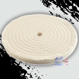 "8"" Spiral Sewn Stitch Cotton Buffing Wheels, Metal Polishing"