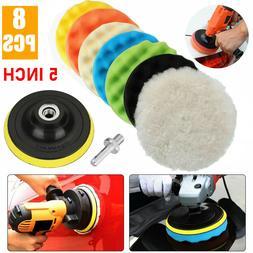 8Pcs 5 Inch Polishing Pads Sponge Waxing Foam Buffing Kit Ca
