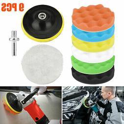 9pcs 5'' Polishing Pads Sponge Woolen Waxing Buffing Pad Kit