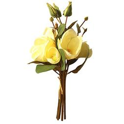 MSOO Artificial Fake Flowers Leaf Magnolia Floral Wedding Bo