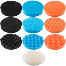Augshy 10Pcs,6 inch Car Foam Drill Polishing Pad Kit,3 Style