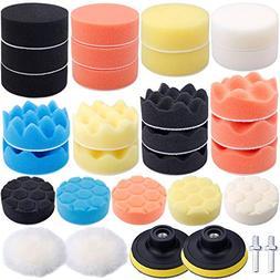 Augshy 31 Pcs Car Foam Drill Polishing Pad Kit, 3 Inch Buffi