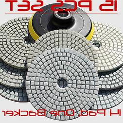 Diamond Polishing Pads 4 inch Wet/Dry 15 Piece Set Granite S