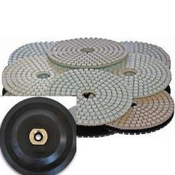 Diamond Polishing Pads 5 inch 24 Pcs + Rubber Backer Wet/Dry