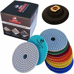"Diamond Polishing Pads 4"" inch Wet/Dry Set of 11+1 Backer Pa"