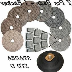 Diamond Polishing Pads Set STADEA Wet/Dry 7 Pcs + Backer For