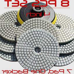 Diamond Polishing Pads 4 inch Wet/Dry 8 Piece Set Granite St