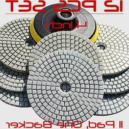 Diamond Polishing Pads Wet/Dry 4 Inch Set Kit Granite Concre