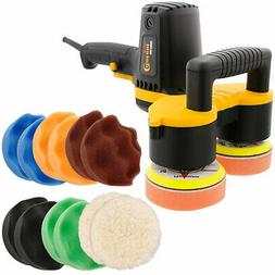 "4"" Dual Head Random Orbit Dual-Action Polisher, Waffle Foam"