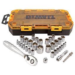 DeWALT DWMT73804 1/4 - 3/8-Inch Drive Socket 34 Piece Metic