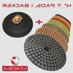 "STADEA Premium Grade Wet 4"" Diamond Polishing Pads Set + Rub"