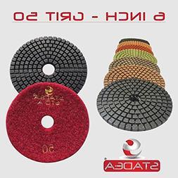 "STADEA Grit 50 6"" Diamond Polishing Pads Premium Grade Wet F"