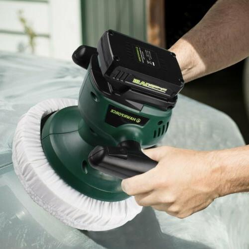 10'' 18V Cordless Car Polisher Random Orbital Waxer Buffer A