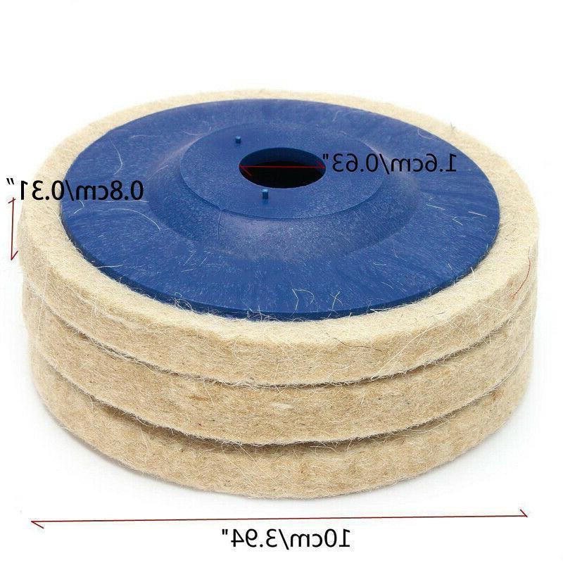 3pcs 100mm 4 Inch Wool Angle Wheel Polishing Disc Pad Set