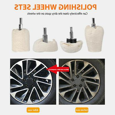 4Pcs Polishing Buffing Wheel Car Kit Drill