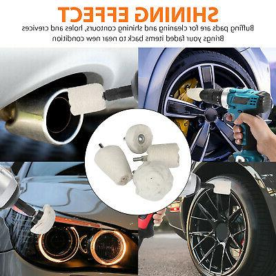 4Pcs White Cotton Polishing Rims Car Motorcycle Drill