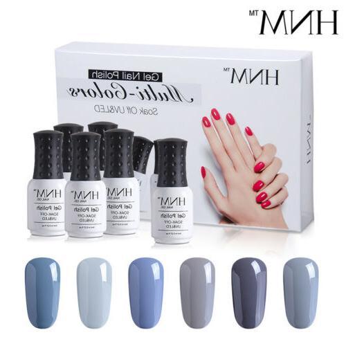 6pcs Gel Nail Set Top Manicure Kit Gift HNM