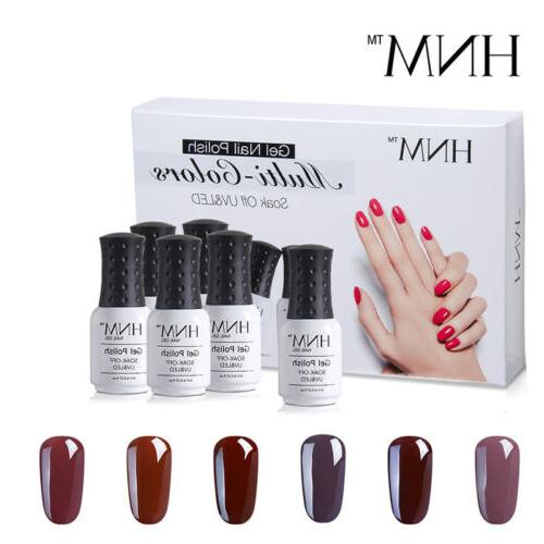 6pcs Gel Nail Set Soak Top Gift
