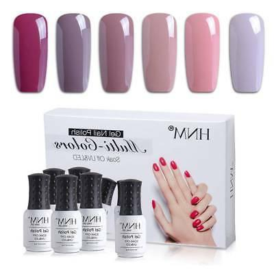 6pcs nude color gel nail polish uv