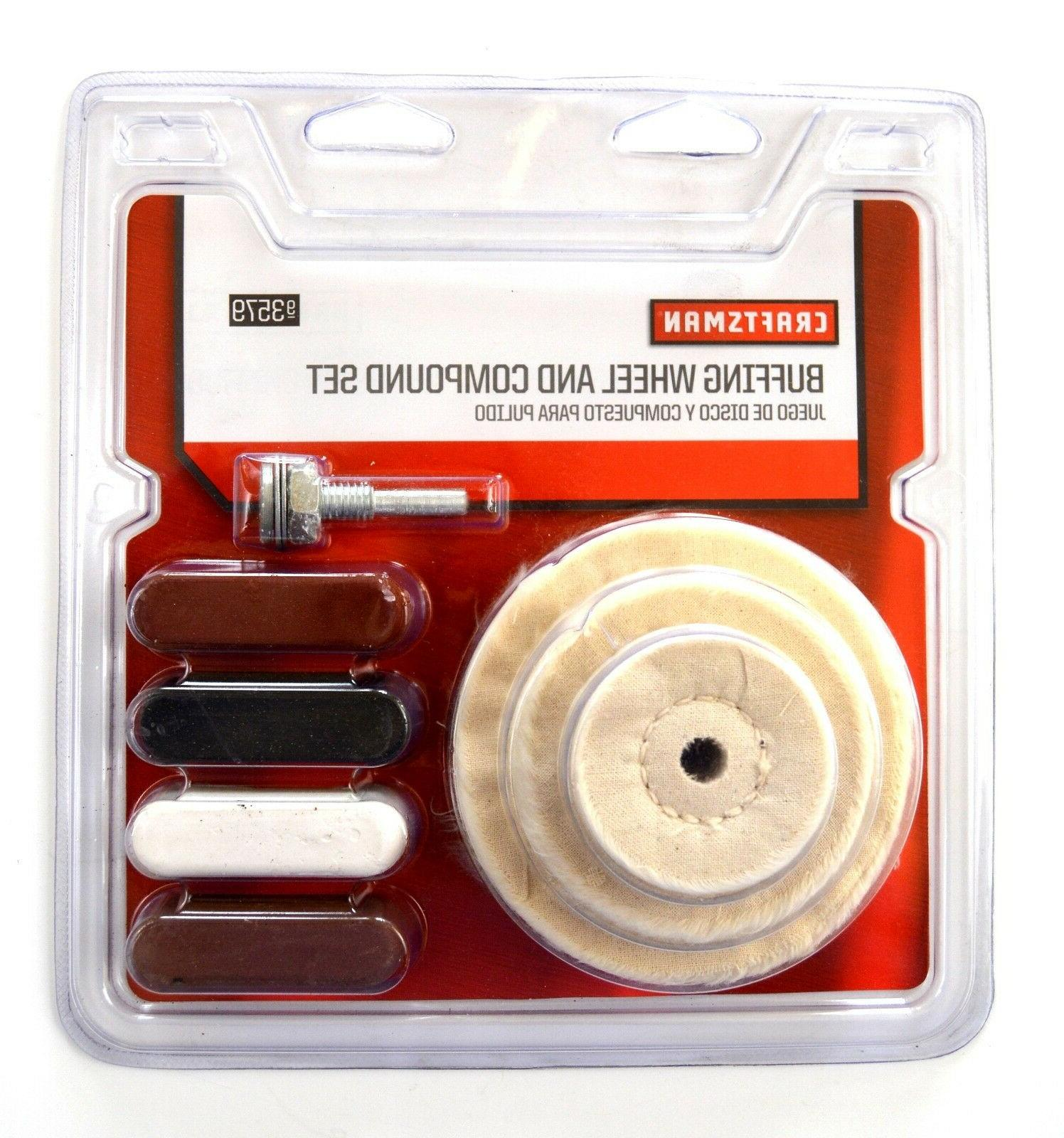 8pc buffing wheel pad compound emery rouge