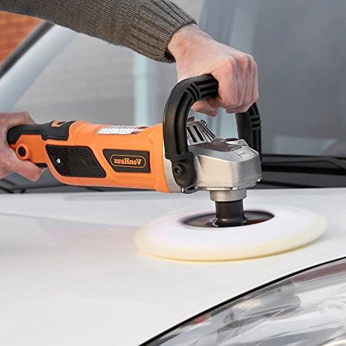 VonHaus 10-Amp Electric Polisher/Buffer/Finishing Machine Kit Speeds Pads to Polish, and Finish – 600-3000 RPM Boats and Tiles