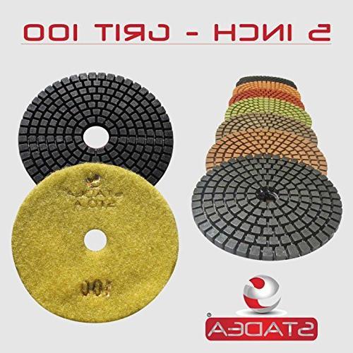 "STADEA Premium Wet 5"" Diamond Polishing Pads 8 For GRANITE MARBLE STONE Polish"