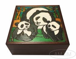 Panda Wooden Box Polish Handmade Panda Family Keepsake Kids/