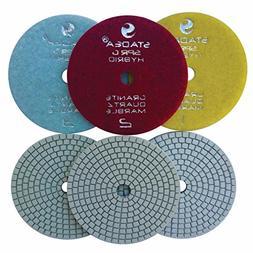 "Stadea PPH101S 4"" Diamond Polishing Pads Three 3-Step Set We"