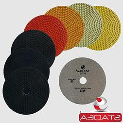 "Stadea PPW166X Granite Polishing Pads 7"" Diamond Pads Set Fo"