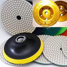 "9 Pieces 4"" 100mm WET/Dry Diamond Granite Polishing Pads 5/8"