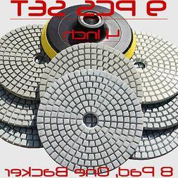 ZFE #8000 4 Inch Wet Dry Diamond Polishing Pads Set Kit For