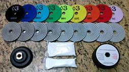 "4"" Wet/Dry Diamond Polishing Pad Complete Set  for Granite,"