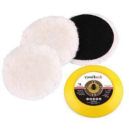 LotFancy 6-Inch Wool Polishing Pads and Backing Pad Kit - Ca